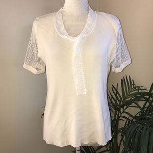 Cable & Gauge Sequin Bead Stretch Short Sleeve Top